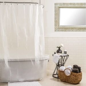 Shower Curtain Liner Clear Easy Clean Nylon Bath 1